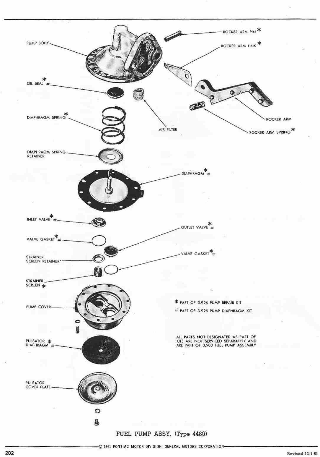 pontiac 1960 master parts catalog 202 fuel pump assy type 4480